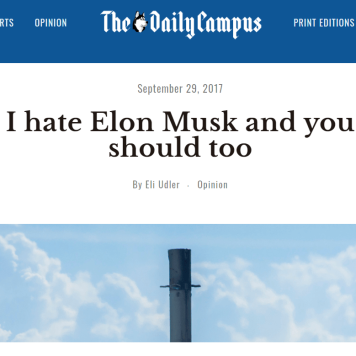Opinion piece on Musk; excerpts taken from: https://bit.ly/2nIc1jk